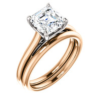 Fine 2 Carat Asscher Cut Cubic Zirconia Solitaire in Pink Gold & White Gold Accents