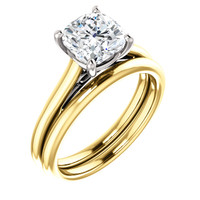 Stunning 2 Carat Cushion Cut Cubic Zirconia in Solid 14 Karat Yellow Gold & White Gold Accents