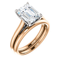 Beautiful 2 Carat Emerald Cut Cubic Zirconia in Solid 14 Karat Rose Gold & White Gold Accents