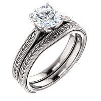 Highest Quality 1 Carat Cubic Zirconia in Solid 14 karat White Gold