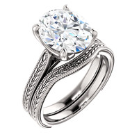 Hand Cut & Polished 3 Carat Oval Cubic Zirconia Solitaire in Solid 14 Karat White Gold