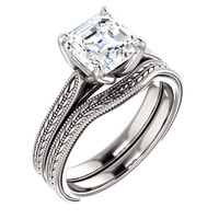 Highest Quality 2 Carat Royal Asscher Cut Cubic Zirconia Solitaire in Solid 14 Karat White Gold