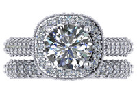 Flawless 2.00 Carat Hand Cut & Polished Cubic Zirconia in Solid 14 Karat Pave' Wedding Set