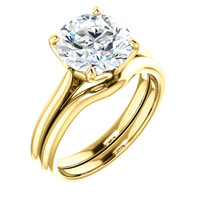 Brilliant 3 Carat Round Cubic Zirconia Solitaire Engagement Ring in Solid 14 Karat Yellow Gold
