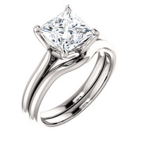 Worlds Finest 2 Carat Princess Cut Cubic Zirconia Solitaire in Solid 14 Karat White Gold