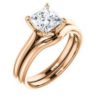 Beautiful 1 Carat Princess Cut Cubic Zirconia Solitaire Wedding Set in Solid 14 Karat Pink Gold