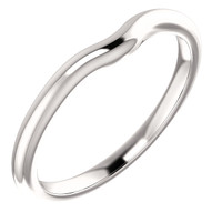Solid 14 Karat White Gold Notched Band