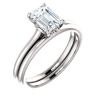 Flawless 1 Carat Emerald Cut Cubic Zirconia Solitaire Wedding Set in Solid 14 Karat White Gold