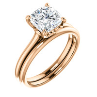 Highest Quality 2 Carat Cushion Cut Cubic Zirconia Solitaire Engagement Ring & Matching Band