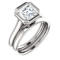 Brilliant 2 Carat Asscher Cut CZ Bezel Set Solitaire Engagement Ring