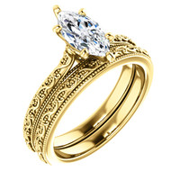 1 Carat Marquise Cubic Zirconia Solitaire Engagement Ring in Solid 14 Karat Yellow Gold