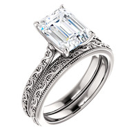 2 Carat Emerald Cut Cubic Zirconia Solitaire Engagement Ring in Solid 14 Karat White Gold
