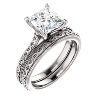 2 Carat Princess Cut Cubic Zirconia Solitaire Engagement Ring in Solid 14 Karat White Gold