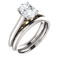 Highest Quality 1 Carat Oval Cubic Zirconia Solitaire Engagement Ring & Matching Band in Solid 14 Karat White Gold & Yellow Gold Scrollwork