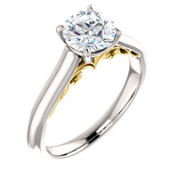 Brilliant 1 Carat Round Cubic Zirconia Solitaire Engagement Ring in Solid 14 Karat White Gold & Yellow Gold Scrollwork