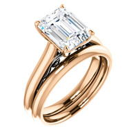 Finest Quality 2 Carat Emerald Cut Cubic Zirconia Wedding Set in Solid 14 Karat Pink Gold with White Gold Scrollwork
