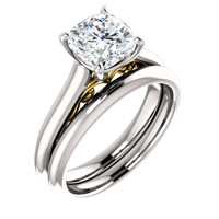 Worlds Finest 2 Carat Cushion Cut Cubic Zirconia Wedding Set in Solid 14 Karat White Gold & Yellow Gold Accents