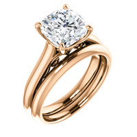 High End 3 Carat Cushion Cut Cubic Zirconia Wedding Set in Solid 14 Karat Pink Gold with Scrollwork Design