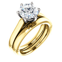 Flawless Round 3 Carat Cubic Zirconia Solitaire Engagement Ring & Matching Band in Solid 14 Karat Gold