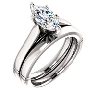 Hand Cut & Polished 1 Carat Marquise Cubic Zirconia Wedding Set in Solid 14 Karat White Gold