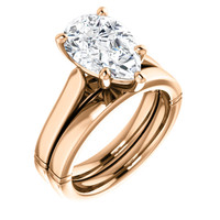 Highest Quality 3 Carat Pear Cubic Zirconia Solitaire Wedding Set in Solid 14 Karat Rose Gold