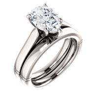 Highest Quality 2 Carat Pear Cubic Zirconia Wedding Set in Solid 14 Karat White Gold