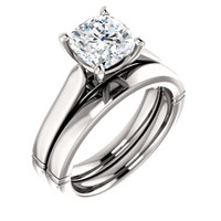 Brilliant 2 Carat Cushion Cut Cubic Zirconia Engagement Ring & Matching Band in Solid 14 Karat White Gold