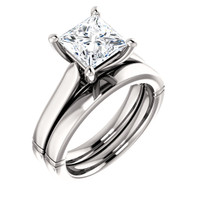 Stunning 2 Carat Princess Cut Cubic Zirconia Solitaire Engagement Ring & Matching Band in Solid 14 Karat White Gold