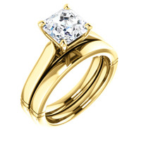 Flawless 2 Carat Asscher Cut Cubic Zirconia Wedding Set in Solid 14 Karat Yellow Gold