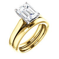 Hand Cut & Polished 2 Carat Emerald Cut Cubic Zirconia Solitaire Wedding Set in Solid 14 Karat Yellow & White Gold