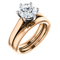 Brilliant 2 Carat Round Cubic Zirconia Solitaire Engagement Ring & Matching Wedding Band in Solid 14 Karat Pink & White Gold