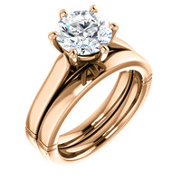High End 2 Carat Round Cubic Zirconia Solitaire Wedding Set in Solid 14 Karat Rose Gold