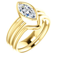 Hand Cut & Polished 1 Carat Marquise Cubic Zirconia Bezel Set Engagement Ring & Matching Band in Solid 14 Karat Yellow Gold