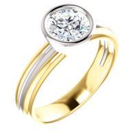 Flawless 1 Carat Round Cubic Zirconia Bezel Set Engagement Ring in Solid 14 Karat Yellow & White Gold