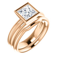 Brilliant 1 Carat Princess Cut Cubic Zirconia Bezel Set Wedding Set in Solid 14 Karat Pink Gold
