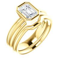 Flawless 1 Carat Emerald Cut Cubic Zirconia Bezel Set Engagement Ring & Matching Band in Solid 14 Karat Yellow Gold