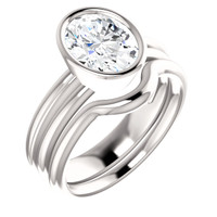 Finest Quality Oval 2 Carat Cubic Zirconia Bezel Set Engagement Ring & Matching Band in Solid 14 Karat White Gold