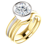 Hand Cut & Polished 3 Carat Round Cubic Zirconia Bezel Set Engagement Ring & Matching Band in Solid 14 Karat White & Yellow Gold