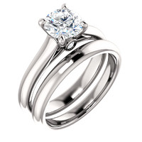 Hand Cut & Polished 1 Carat Cubic Zirconia Solitaire Wedding Set in Solid 14 Karat White Gold
