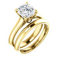 Brilliant 2 Carat Cushion Cut Hidden Stone Solitaire Wedding Set in Solid 14 Karat Yellow Gold