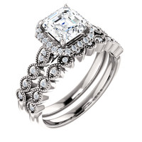 Flawless 1 Carat Asscher Cut CZ Wedding Set