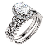 Beautiful 1 Carat Oval Cubic Zirconia Wedding Set in Solid 14 Karat White Gold