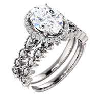 Flawless 2 Carat Oval Cubic Zirconia Wedding Set in Solid