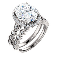 Hand Cut & Polished 3 Carat Oval Cubic Zirconia Wedding Set