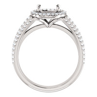 Heavy Solid 14 Karat White Gold Engagement Ring Setting With Your Choice of Center Stone