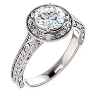Gorgeous 2 Carat Round Cubic Zirconia Halo Engagement Ring in 14 Karat White Gold