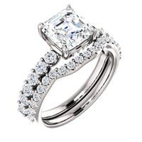 Stunning 2 Carat Royal Asscher Cut Cubic Zirconia Engagement Ring & Matching Band inSolid 14 Karat White Gold