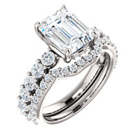Flawless 2 Carat Emerald Cut Cubic Zirconia Engagement Ring & Matching CZ Band in Solid 14 Karat White Gold