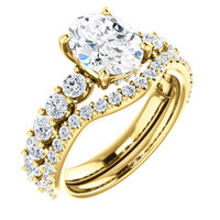 Hand Cut & Polished 2 Carat Oval Cubic Zirconia Engagement Ring & Matching Band in Solid 14 Karat Yellow Gold
