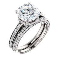 Stunning 3 Carat Round Cubic Zirconia Hidden Halo Engagement Ring & Matching Band in Solid 14 Karat White Gold